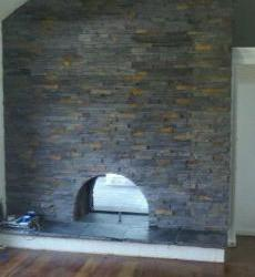 Custom Fireplace with Stacked Slate