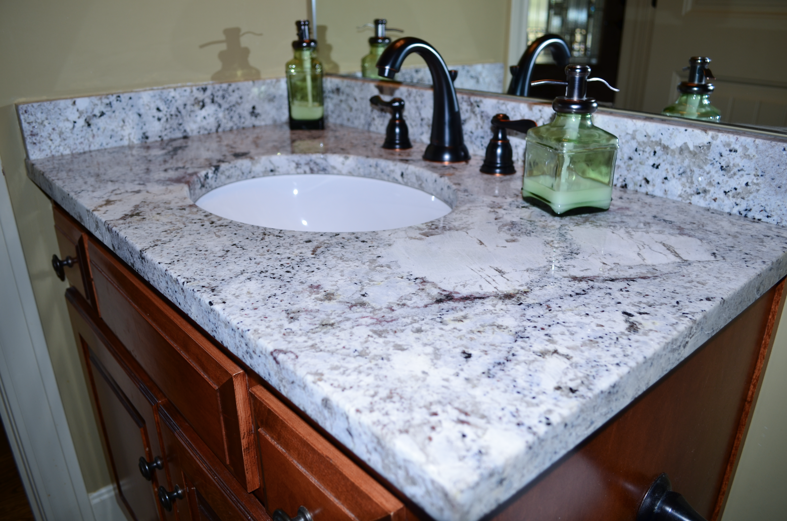 Giallo Ornamental Light Granite Bathroom Countertops in Lenexa ...