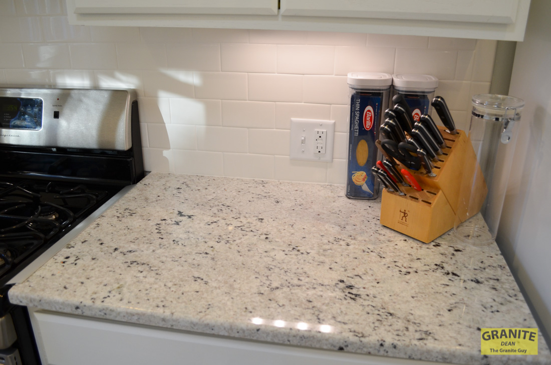 Cotton white granite kitchen counter upgrades kansas for Kitchen upgrades